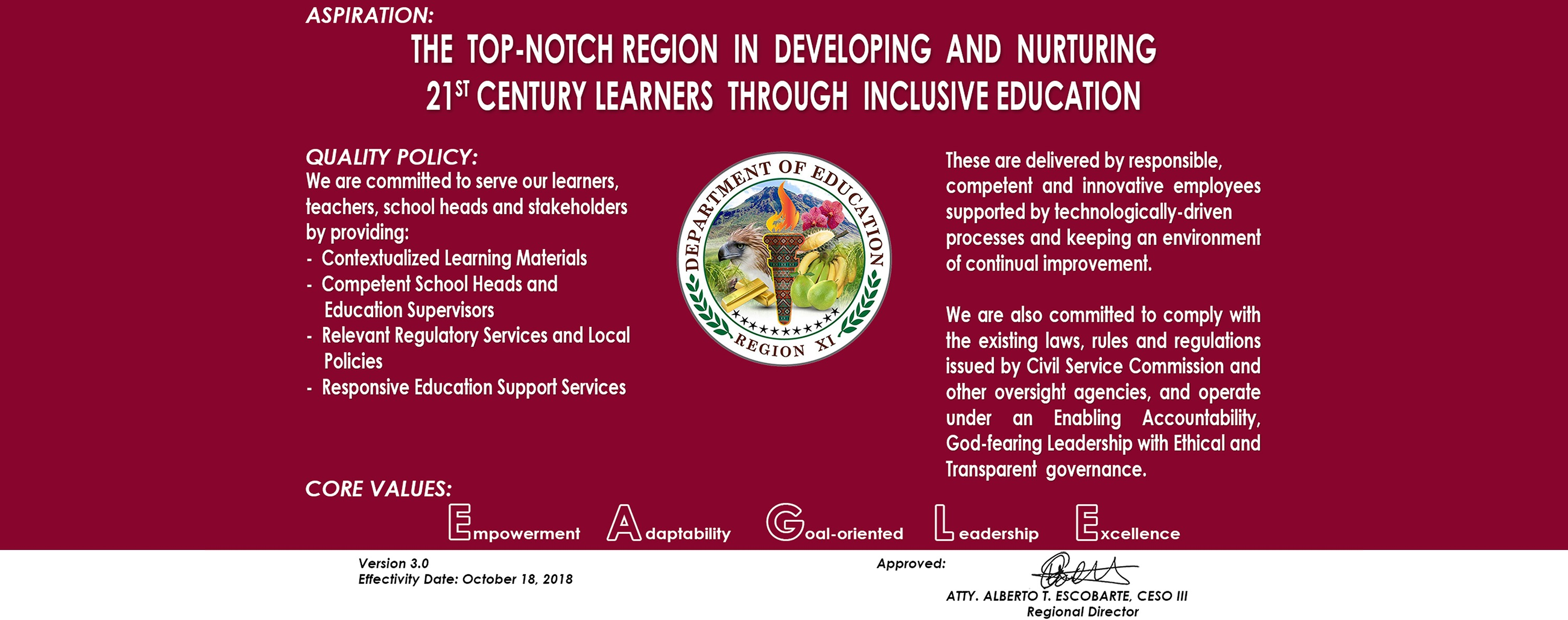 DepEd Region XI Quality Policy
